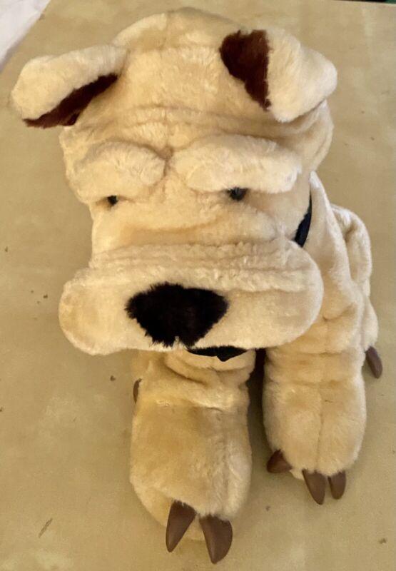 "Vintage 1988 ACME Large 14"" Shar-pei Plush Dog w Bow tie Good Condition Rare!"