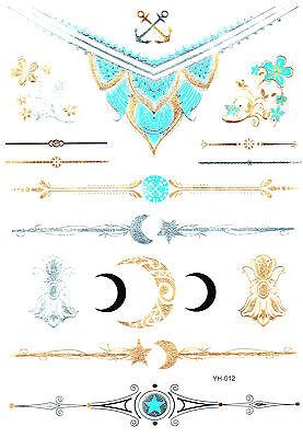 Flash Tattoo Body Temporary Jewelry Gold Silber Metallic Henna Armband YH12 (Gold Tattoos)