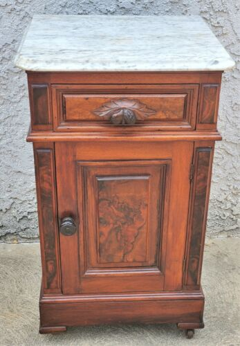 Victorian Marble Top Burl Walnut Half Commode / Night Stand / End Table LA Area