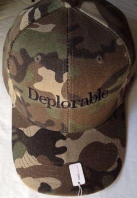 MAKE AMERICA GREAT AGAIN Donald Trump Camo/Black DEPLORABLE HAT Cap EMBROIDERED