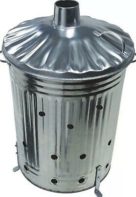 125L LARGE METAL GALVANIZED INCINERATOR FIRE BIN GARDEN RUBBISH BURNER UK SELLER