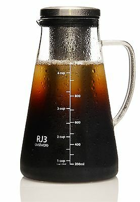 Ovalware Airtight Cold Brew Iced Coffee Maker and Tea Infuser 1.0L / 34oz