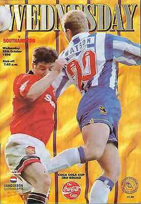 Football Programme - Sheffield Wednesday v Southampton - League Cup - 1994