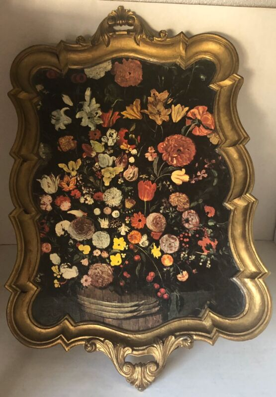Italian Florentine Rococo Style Flower Bouquet Gold Gilt Handled Serving Tray