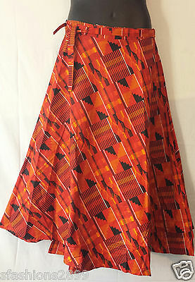 African Kente Fabric Cloth wrap around Skirt Maxi Vintage 70s Free size Print #8