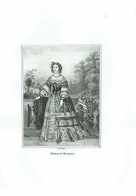 Madame Of Montespan Marquise Favorites Louis XIV - Incision Original 1800
