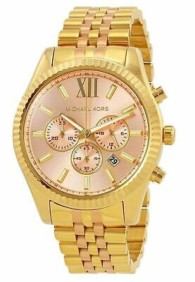 Michael Kors Lexington Chronograph Pink Dial Gold Tone Women's Watch MK6473 SD9