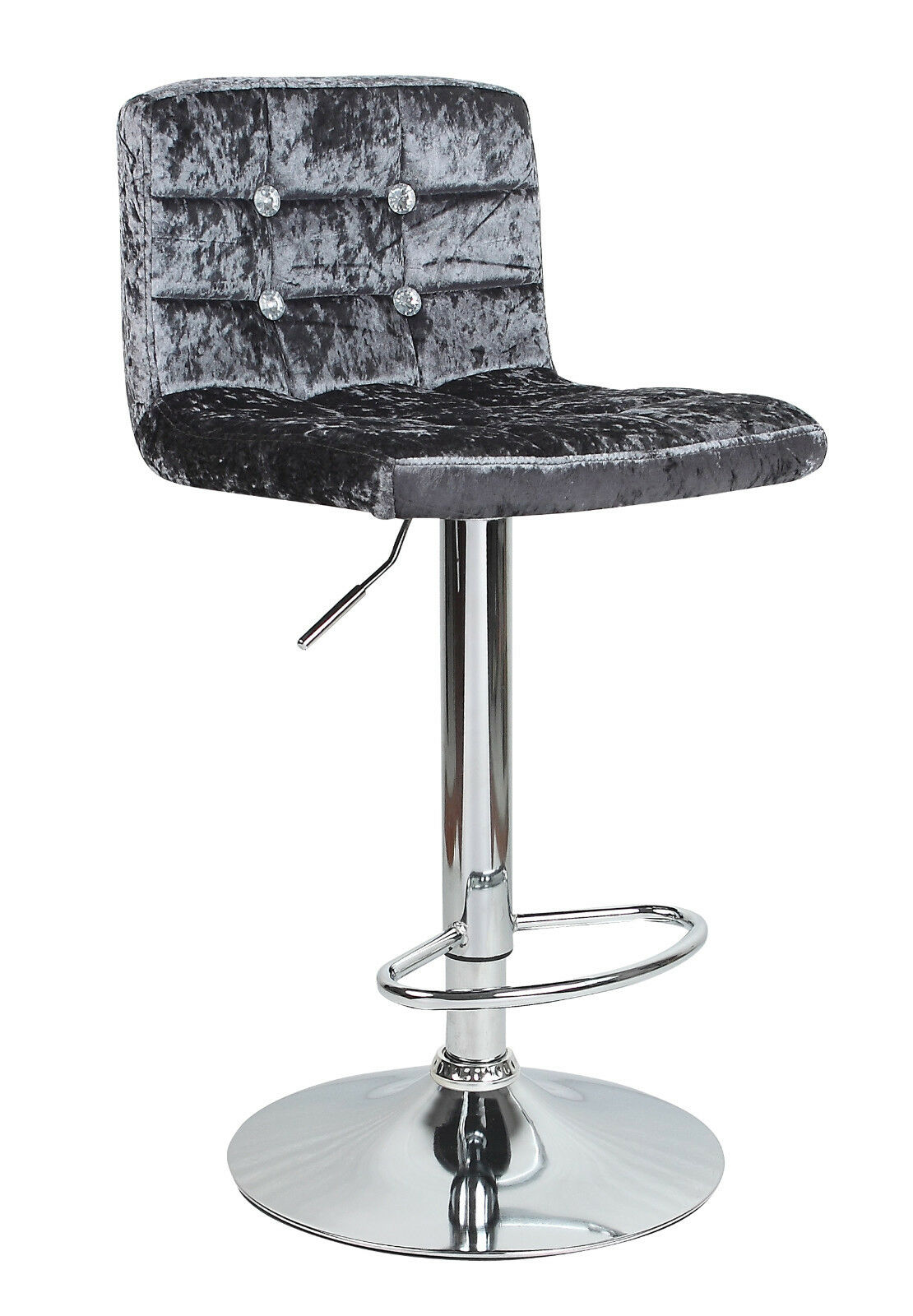 Chairs Diamante Crushed Velvet Bar Stool Swivel Foot Rest Chair ...