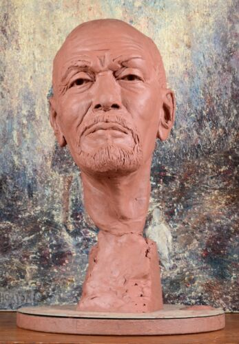 VINTAGE RUSSIAN LEADER VLADIMIR LENIN CLAY BUST ART SCULPTURE