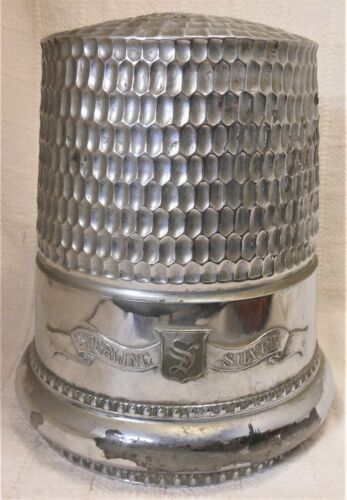 Great Antique Trade Sign Oversize Thimble Millinery, Sewing, Tailor Trade Figure