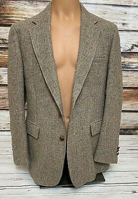 Harris Tweed Mens Jacket Size 44 R Tan Scottish Wool Blazer *Read