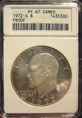 TMM 1972 S 40 SILVER CERTIFIED COIN EISENHOWER DOLLAR ANACS PF67