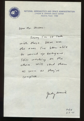 JUDY RESNIK RARE SIGNED LETTER WRITTEN ON NASA JOHNSON SPACE CENTER STATIONARY