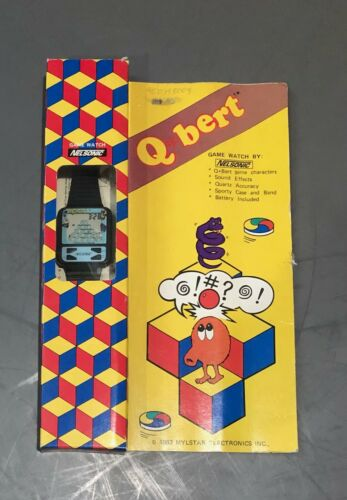 Vintage 1983 Mylstar Q Bert Game Watch by Nelsonic- Functional with Instructions
