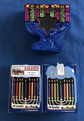 2 New Boxes Of Chanukah Candles & Menorah Shaped Box Sequins Jewish Prayer](Hannukah Prayer)
