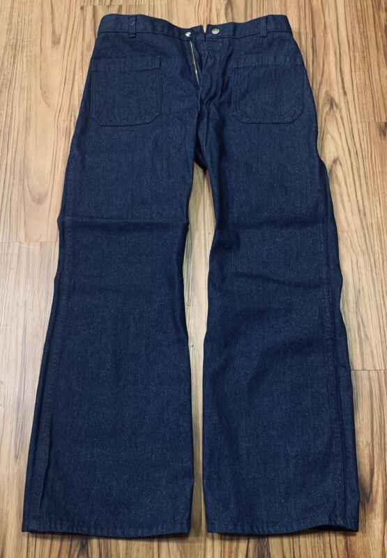Vtg Navdungaree US Navy Sailor Wide Leg Denim Trousers Bell Bottoms Pants M-L 34