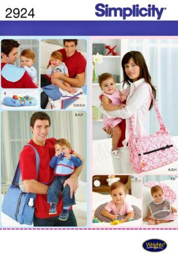 Simplicity 2924 Baby Diaper Bag Pillow Bib Pad Pacifier Clip Sewing Pattern FF