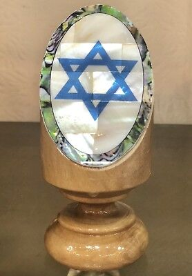 - Mother Of Pearl Olive Wood  Blue Star Of David Gift Stand New Holyland Office