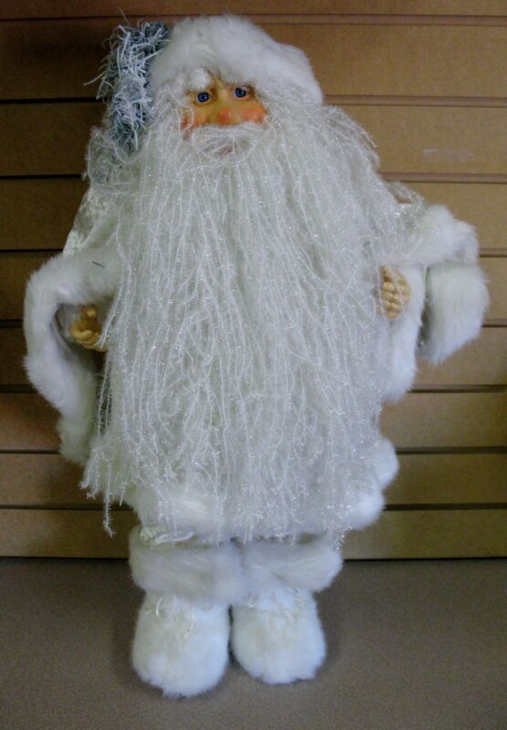 "24"" Tall Santa in All White Outfit  FREE SHIPPING Backroom"