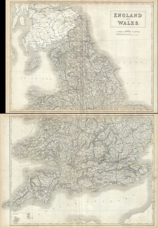 1844 Black Map of England and Wales (Set of 2 maps)