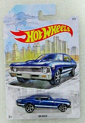 Hot wheels 2019 detroit muscle series 1968 68 chevy nova blue #2 / 6 htf