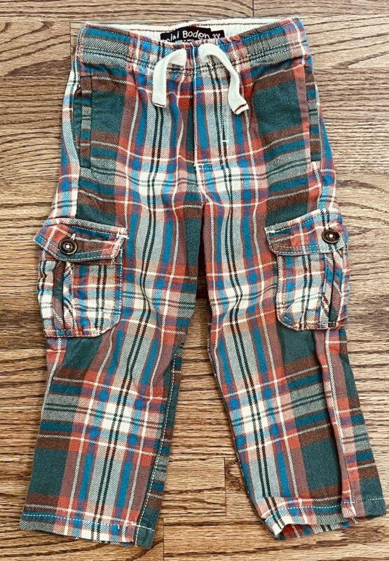 MINI BODEN Flannel Cargo Pants Tartan Plaid Pull On Drawstring Waist Boys Size 3