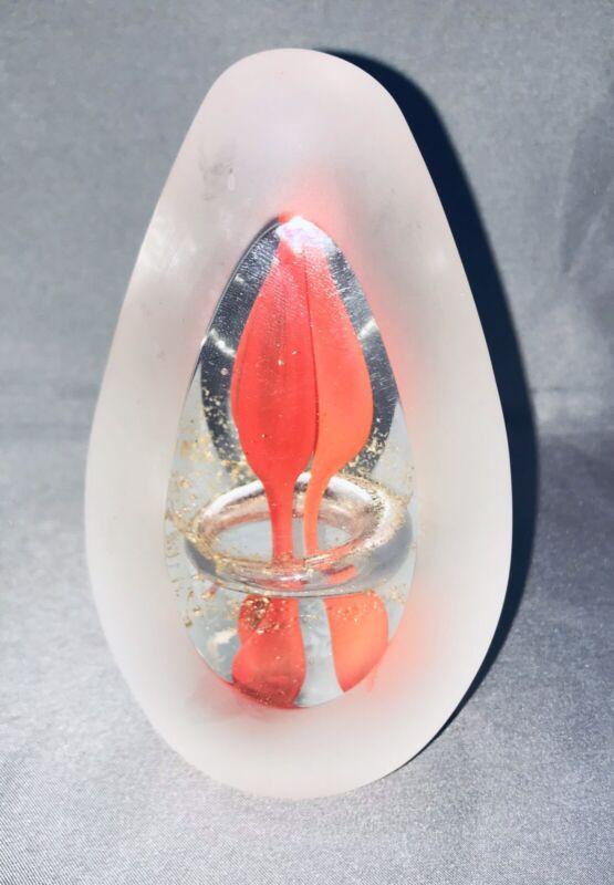 Svaja ART Glass Paperweight Fire Lampwork Frosted Cut Glass Ring Sculpture