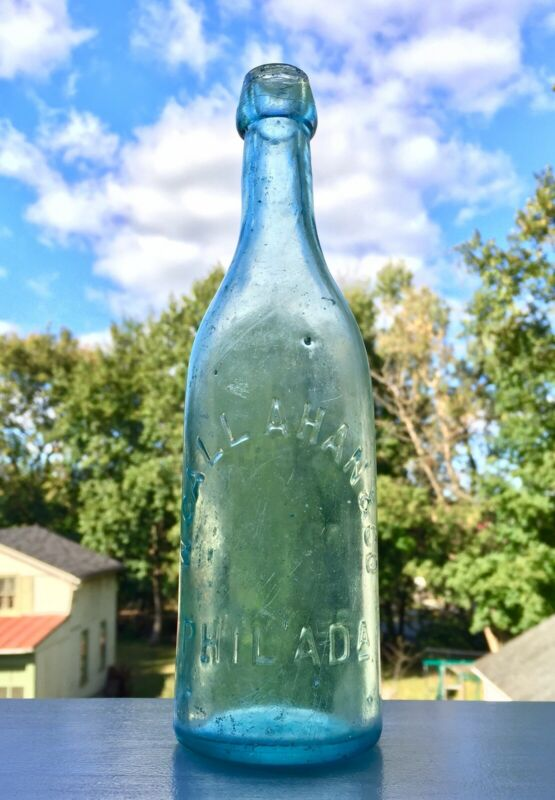 W Callahan & Co Philadelphia blob champagne beer bottle 1870s applied blown