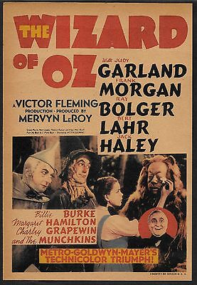 The Wizard of Oz Judy Garland Poster Reprint On Original 1939 Paper !