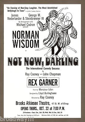"Norman Wisdom ""NOT NOW, DARLING"" M'el Dowd 1970 FLOP Broadway Opening Flyer"