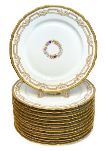 12 Guerin Limoges France Porcelain Dinner Plates, circa 1910