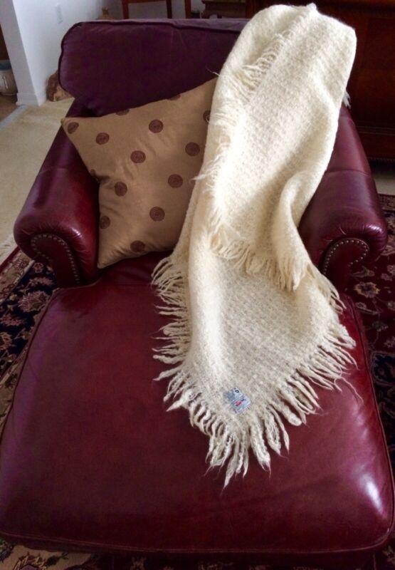 """Vtg Avoca Handweavers Irish Wool Blanket Throw Shawl Fringe 51"""" x 51"""" Ivory EX"""