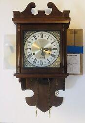 New Vintage Hamilton 31 Day Windup Wall Clock Key 3 Peaks Shelf Wear