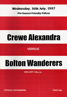 1997/98 Crewe Alexandra v Bolton Wanderers, friendly, PERFECT CONDITION