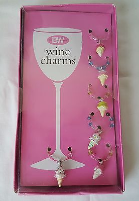 6 Wine Markers - Ice Cream Charms, Boston Warehouse, New In Box