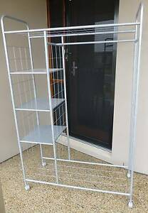 Fully assembled Mobile Clothes rack with shelves Ripley Ipswich City Preview