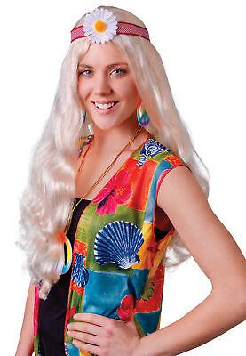 60's Lang Blond Gewellt Hippie Mädchen Kostüm Perücke - Mädchen Blonde Hippie Perücke