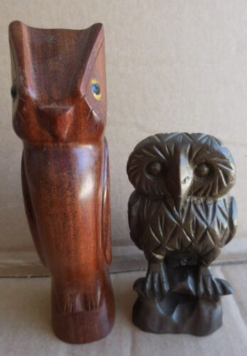 Carved Wood Owl Figures (2)