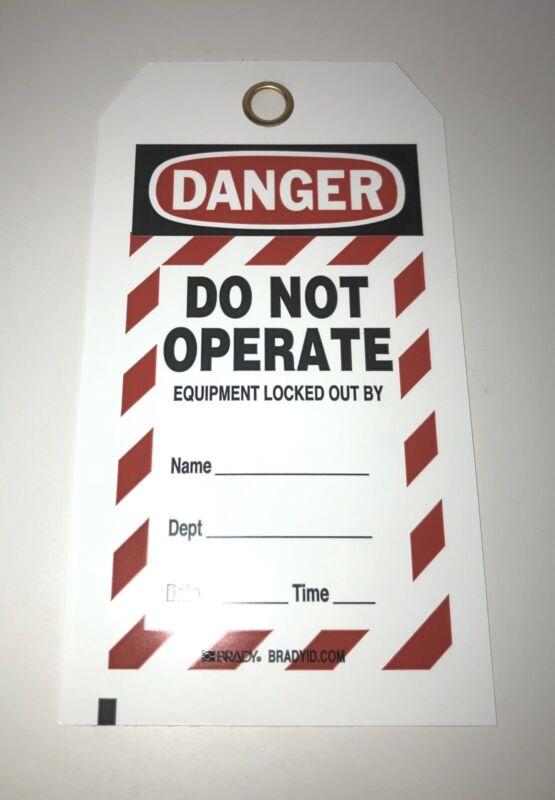 (25) Brady Lockout Tagout Do Not Operate Tags W/ Grommet & Zip Ties New In Pkg