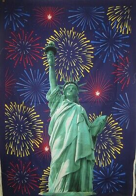 Lady Liberty Statue Of Liberty Panel With Fire Works Cotton Fabric - Statue Of Liberty Flame