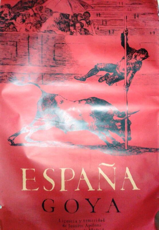 Vintage rare travel poster Spain La Tauromaquia Francisco de Goya Apinani