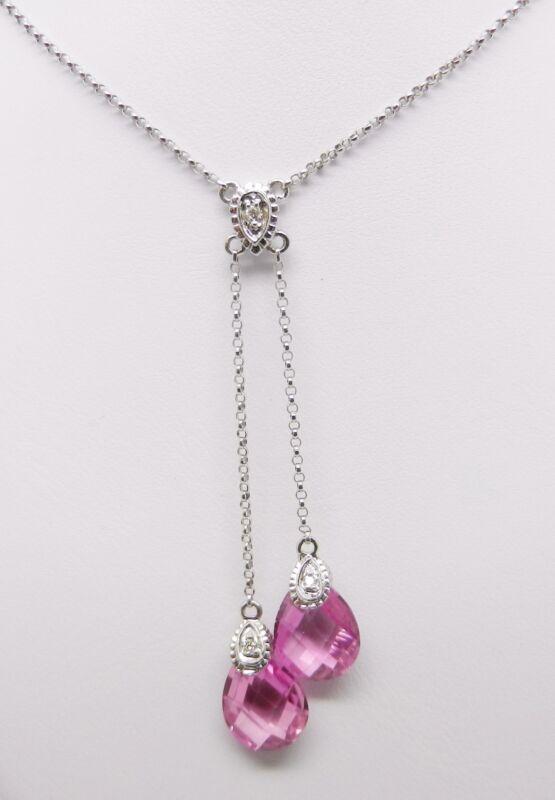 "14K WHITE GOLD PINK SAPPHIRE DIAMOND DANGLING NECKLACE 16"" CHAIN  -  LB1945"