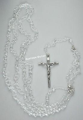 WEDDING LAZO GLASS SILVER CROSS LASSO DE BODA CRYSTAL ROSARY RELIGIOUS 4643