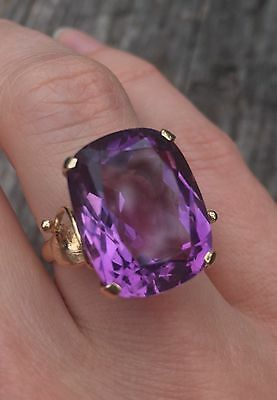 Designer MG 14k Yellow Gold large cocktail amethyst ring, size 7, 8 g