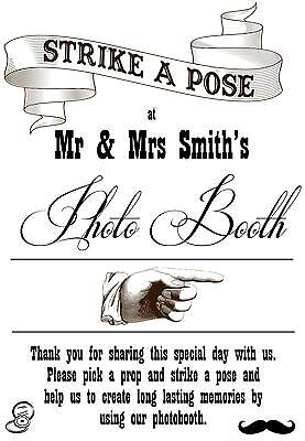 Personalised Wedding photo booth sign vintage/shabby chic style