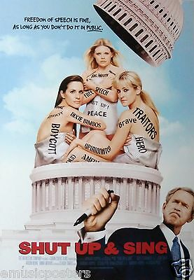 "DIXIE CHICKS ""SHUT UP & SING"" U.S. PROMO POSTER - Country Bluegrass Rock Music"