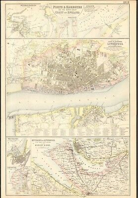 1874 ca LARGE ANTIQUE MAP- BARTHOLOMEW -LIVERPOOL & BIRKENHEAD, ENVIRONS,SILLOTH