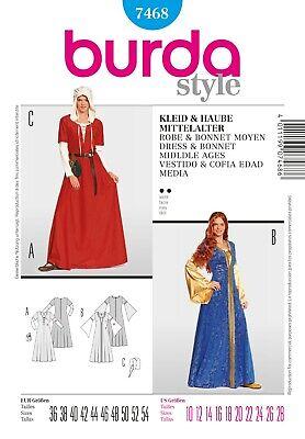 Burda Style Schnittmuster - Mittelalterliches Kleid & Haube - Nr. 7468