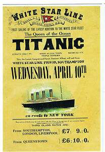 Titanic Vintage White Star Line Fare Price Poster on Modern Postcard