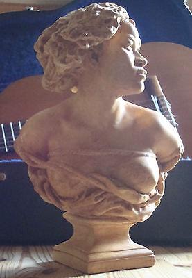 """Sculpture buste plâtre Carpeaux patine terre cuite """"la négresse captive"""""""
